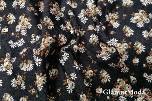 Джинсовая ткань с рисунком кофейные цветы на черном фоне