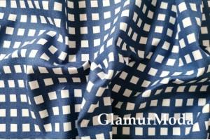 Джинсовая ткань белые квадраты на темно-синем фоне