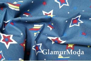 Джинсовая ткань Звезды на синем фоне