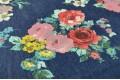 Джинсовая ткань цветочное ассорти на тёмно-синем фоне