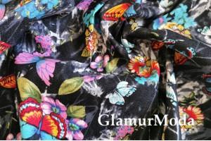 Джинсовая ткань Бабочки на чёрном фоне