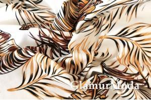 Джинсовая ткань LEAFS, коричнево-золотые листья на белом фоне, PN1272