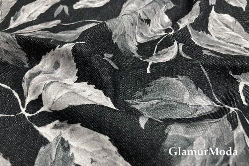 Джинсовая ткань, белые акварельные листики на черном фоне PN1271