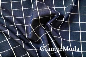 Джинс сорочечный темно-синий фон с белой полоской
