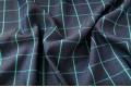 Джинс сорочечный темно-синий фон с бирюзовой полоской