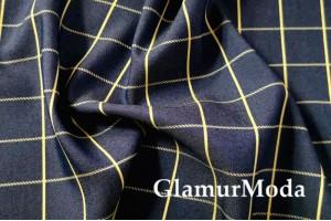 Джинс сорочечный темно-синий фон с жёлтой полоской