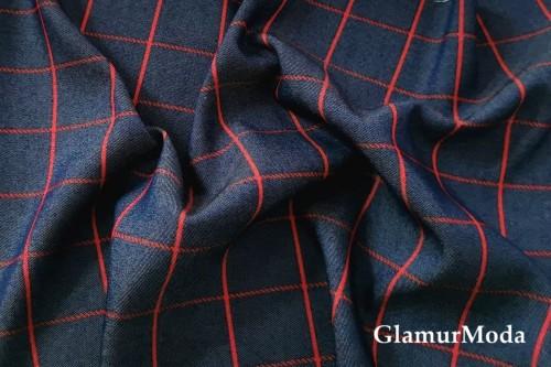 Джинс сорочечный темно-синий фон с красной полоской