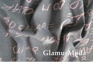 Джинс сорочечный розовые буквы на светло-сером фоне