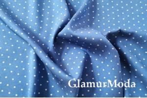 Джинс сорочечный горошек на темно-голубом