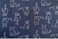 Джинс сорочечный котики, на темно-синем фоне