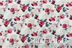 Ткань DUCK - Дак, красные цветы, 280 см