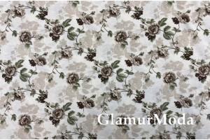 Ткань DUCK - Дак, бежевые цветы, 280 см