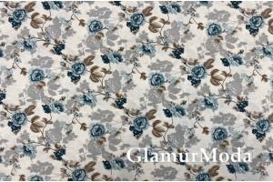 Ткань DUCK - Дак, бирюзовые цветы, 280 см