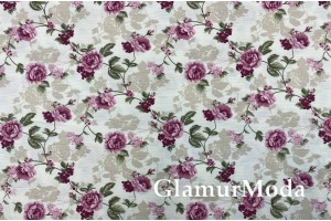 Ткань DUCK - Дак, фиолетовые цветы, 280 см