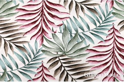 Дак (DUCK) листья бордовые, зелёные, коричневые на белом фоне, 180 см