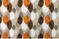 Дак (DUCK) абстрактные листья, коричневые и оранжевые, на бежевом фоне