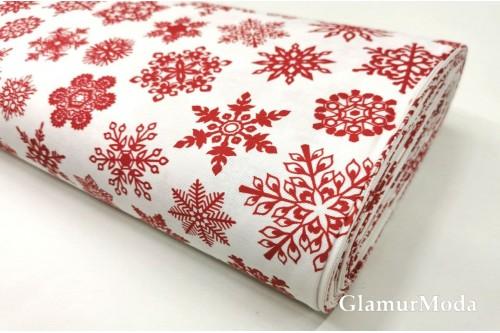 Дак (DUCK) красные снежинки на белом