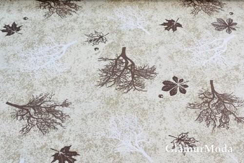 Дак (DUCK) деревья и листья на бежевом фоне
