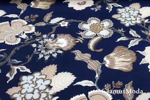 Дак (DUCK) золотые цветы на тёмно-синем фоне, 180 см