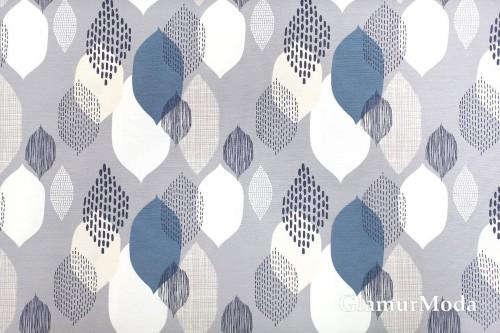 Дак (DUCK) абстрактные листья, белые и синие, на сером фоне