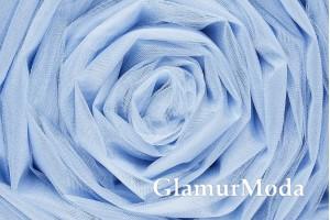 Фатин средней жесткости голубого цвета шириной 300 см