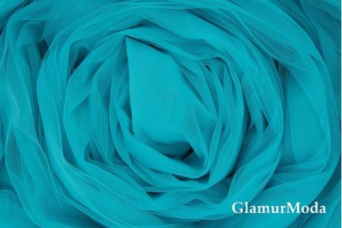 Еврофатин бирюзово-голубого цвета, воздушный и мягкий, 300 см