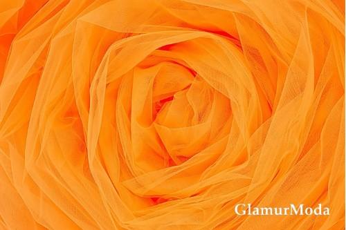 Еврофатин ярко-оранжевого цвета, воздушный и мягкий, 300 см