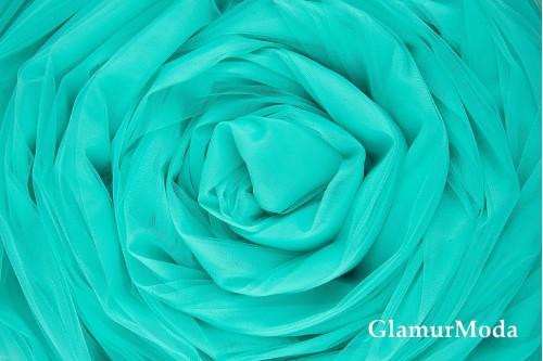 Еврофатин бирюзового цвета, воздушный и мягкий, 300 см