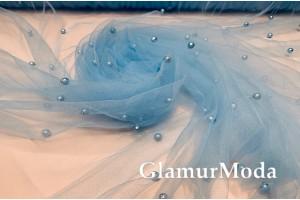 Сетка вышитая с бусинами нежно-голубой цвет