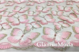 Сетка с вышивкой бабочки, розового цвета