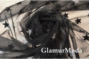 Фатин с глиттером серебряные звезды на черном