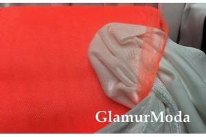 Фатин средней жесткости оранжевого цвета шириной 150 см
