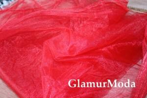 Фатин средней жесткости красного цвета шириной 150 см