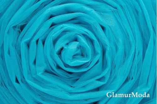 Бирюзово-голубой фатин средней жесткости  шириной 300 см