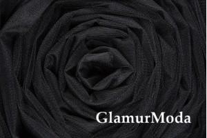 Фатин средней жесткости черного цвета шириной 300 см