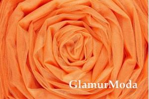 Фатин средней жесткости оранжевого цвета шириной 300 см