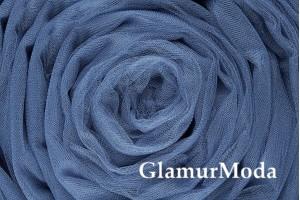 Фатин средней жесткости серо-голубого цвета шириной 300 см