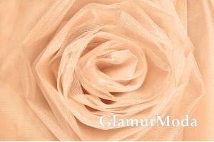 Фатин Kristal, средней жесткости, беленый абрикос, 300 см., арт. 7