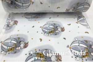 Фланель LUX 240 см, слоники на серых воздушных шарах