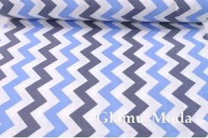 Фланель LUX 240 см, серо-голубые зигзаги