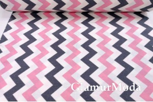 Фланель LUX 240 см, серо-розовые зигзаги