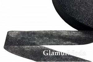 Лента флизелиновая нитепрошивная, черная, 2 см