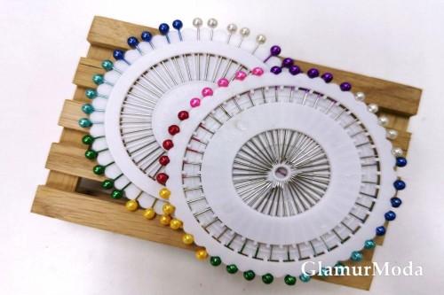 Булавки на пластине 37 мм (40 шт) цветные
