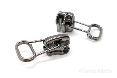 Бегунок с собачкой темный никель, к металлической молнии тип 5, арт. 05, Турция