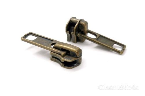 Бегунок с собачкой антик, к металлической молнии тип 5, арт. 10, Турция