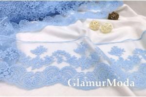 Кружево Blumarine (Блюмарин) голубого цвета