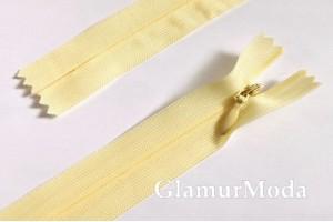 Молния потайная пастельного желтого цвета, тип 3, неразъемная, 35 см, Турция