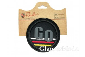 "Нашивка ""GO"" на черном, диаметр 7 см"