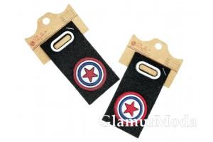 """Нашивка """"Капитан Америка"""" на черном, 8.5х4.5 см"""