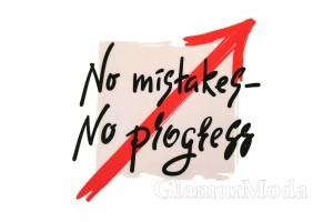 """Термонаклейка """"No mistakes - no progress"""" 9x9 см, красная стрелка"""